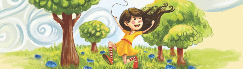 Illustration fra Musicarma bogen og remsen om forår