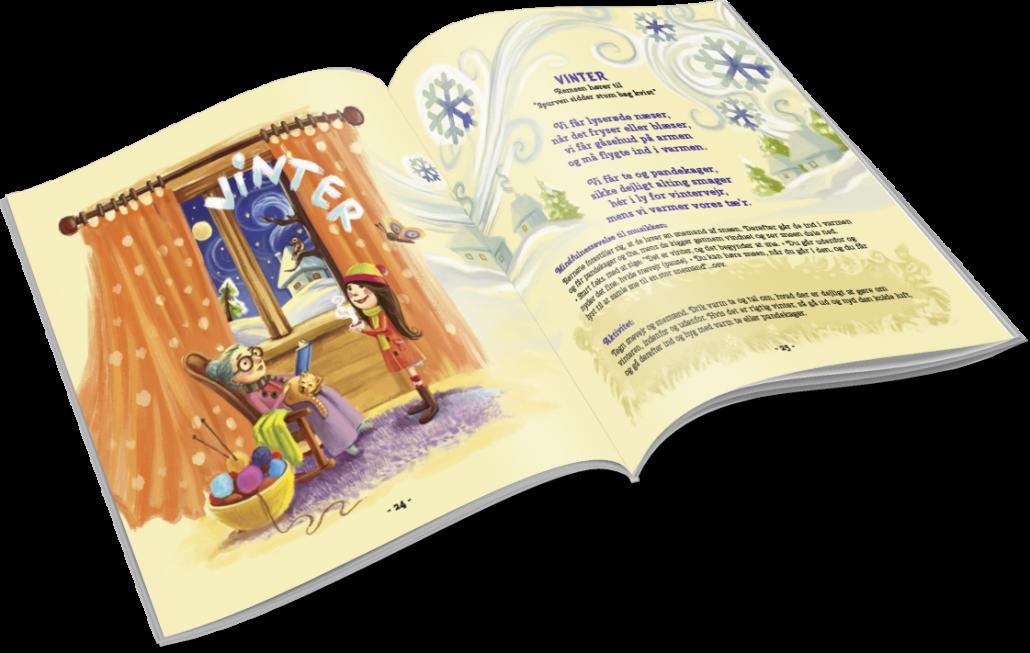 Musicarma bog ligger opslået på siden med remsen om vinter.