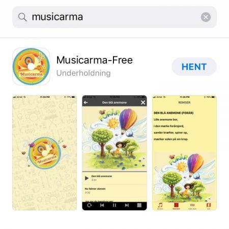 Skærmebilleder af Musicarma app'en.